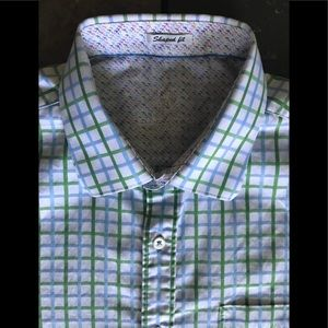 Bugatchi Shirt Large Shaped Fit Green Blue Slim